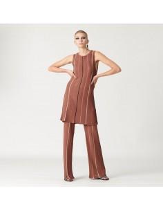 For You - Pantalone rigato donna in maglina tricot color caffè (FY5156)