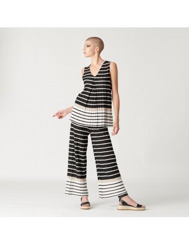 For You - Pantalone in maglia donna in maglina tricot a righe bianche e marroni (FY5256)