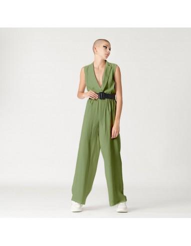 For You - Tuta con cintura donna in morbido tessuto verdone (FY2166)