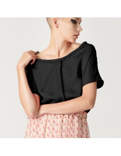 For You - Blusa frange donna in viscosa nera (FY5366)