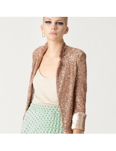 For You - Blazer paillettes donna color champagne con paillettes (FY6466)