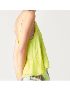 For You - Top seta donna in seta e viscosa color lime (FY0666)