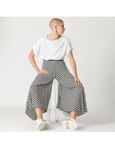 For You - Panta gonna plissè donna a righe effetto gonna pantaloni (FY2666)