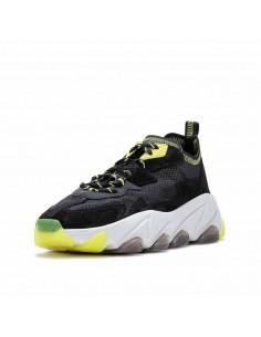 ASH - Sneakers Eclipse Bis donna in tessuto trasparente e pelle colore nero e fluo (S20-ECLIPSEBIS01)