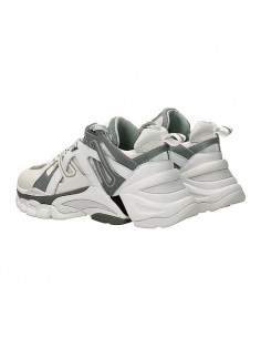 ASH - Ash Flash Nubuck White Silver donna in pelle intrecciata color bianco e grigio (F19-FLASH08)