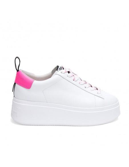 ASH - Ash Moon White Pink donna in pelle bianca e dettagli rosa (S20−MOON05)