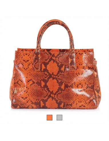 BECATÒ - Borsa Shopping Panarea donna in vera pelle stampa pitone colore arancio e grigio (14275)