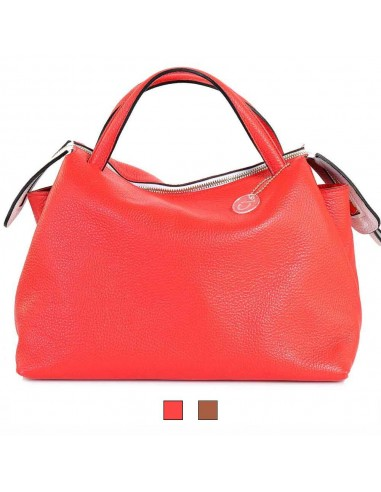 BECATÒ - Borsa Shopping Elba donna in vera pelle supreme colore corallo e cuoio (14410)